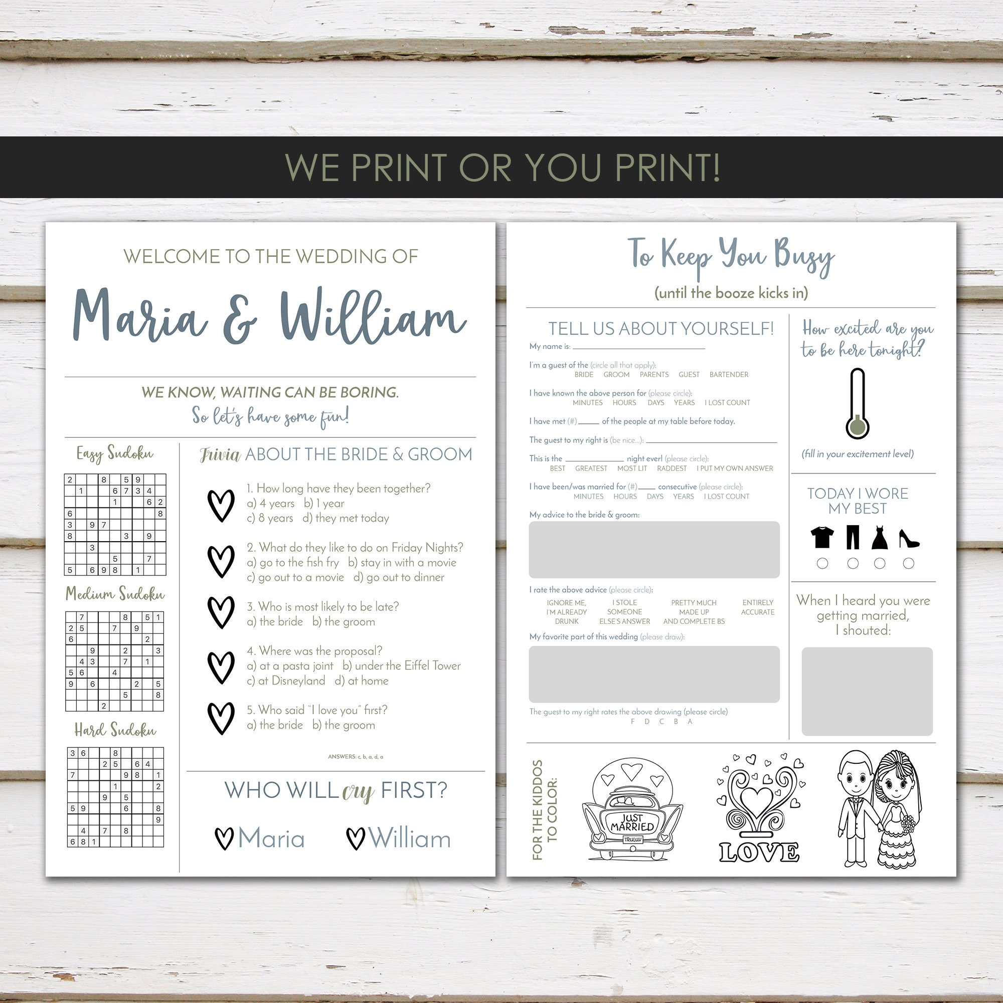 Fun Infographic Wedding Program Unique Modern Reception Games Printable Or PRINTED MB236