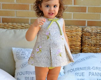 Easy sewing:Little DRESS with plates for newborn baby babies girls PDF PATTERN + YouTube Tutorial size 1 month to 36 months *Spanish Design*