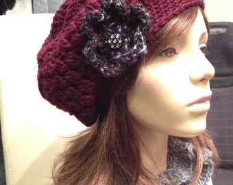 Slouchy Beret with Black Print Flower and Sparkle Button