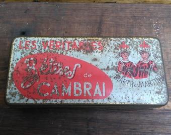 Old metal advertising Cambrai AFCHAIN nonsense box 1930 / Old metal advertising Cambrai AFCHAIN