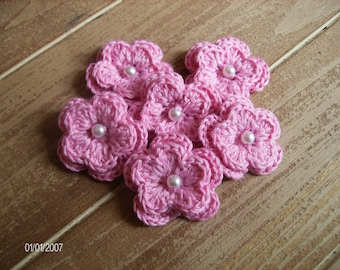 Crochet Flower Appliques set of 6 in Pink Mauve