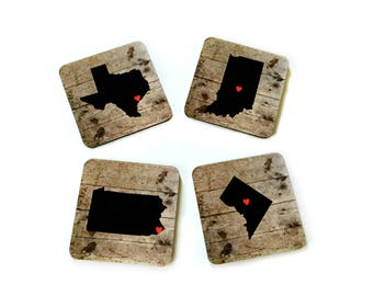 Personalized State Coasters for Drinks, Unique Father's Day Gift, Long Distance Gift, Custom Real Estate Closing Gifts, Rustic Home Decor