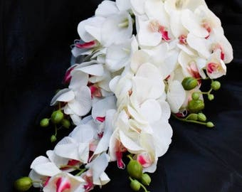 Cascading Teardrop Orchid and Calla Lily Wedding Bouquet White