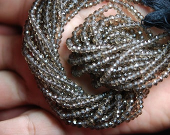 14 Inch Strand, Very Rare, Finest Smoky Quartz Mystic  FACETED Rondelles 3.5-4mm