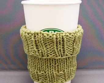 Coffee Cup Cozy Handknit Soft Sage Green Eco Friendly for your Coffee to go Wonderful Office Gift under 20