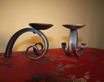 Upset Scroll Candle Holder.  Hand Forged by a Blacksmith.