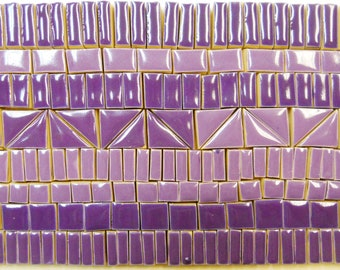 180+ Mosaic Tiles  Handmade Ceramic Crafting Tile Stoneware Art Tile Pieces Deep Purple Shades Glazed Craft Tiles Assortment #1P