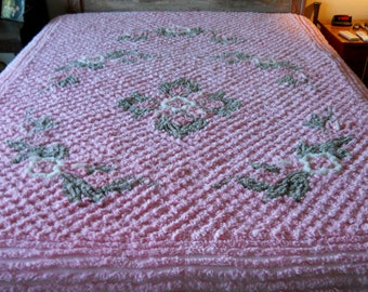 English PINK Vintage chenille BEDSPREAD, spread heavy weight