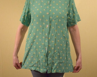 Vintage 80s style crumpled shirt by Gira Puccino green yellow/white flowers shoulders upholsteries summer women Beach shirt large size