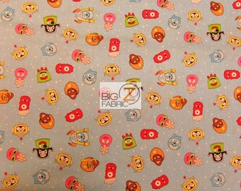 "Yo Gabba Gabba! 100% Cotton Fabric By Hoffman Fabrics - Heads Monster Robot Characters  - 45"" Width Sold By The Yard (FH-196)"