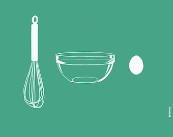 Whisk, Glass Bowl. Egg Drawing on