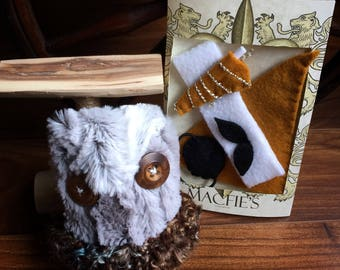 Owl Stuffed Animal with nest, perch and yellow accessories - Button Eyes - Dress up Toy - Owl Gifts