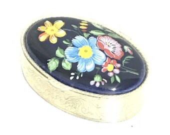 Vintage Pill Stash Box hinged Painted Porcelain Floral Silver Wash Metal 1950's
