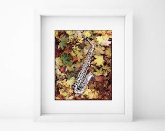 Autumn Leaves, Tribute, Jazz, Sax, Photograph, Super Large Print, Fine Art, Autumn, Music, Saxophone, Musical Instrument, Art Print, A0