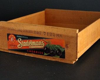 Vintage Fruit Crate Stadelman's Cherries Wood Shipping Box