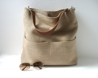 Hobo Tote in Woven Jute, Casual Summer Tote Bag, Boho Purse