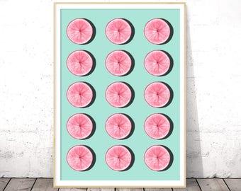 Pink and Blue Kitchen Wall Art, Digital Download, Fruits Print, Citrus Decor, Printable Poster, Vegan Gift, Half Slice, Grapefruit Art