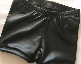 Girls Faux Leather Black Shorts baby toddler costume 6 12 18 24 month 2T 3T 4T 5T 5 6 7 8 9 10 12 14 Gymnastics Shorties