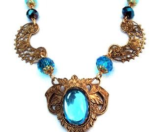 SALE: WAS 50.00 NOW 35.00 Vintage 1920's Blue Czech Glass Necklace