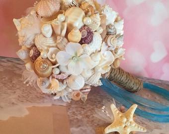 Xo bouquet beach seashell wedding bouquet