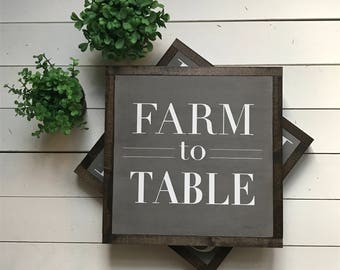 "Farm to Table | handmade wood sign | 13"" x 13"" 
