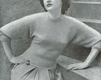 Vintage Women's Knitting Pattern -1950s Sweater or jumper 40s 50s - instant download PDF - knitting patterns for women - retro - ladies