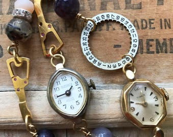Vintage Watch Assemblage Bracelet, Watch Parts, Steampunk Bracelet, Purple Agate Beads, Upcycled, Multi-Strand, One-of-a-kind, Retro Style