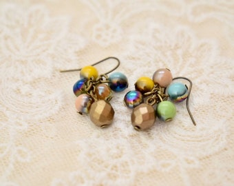 Colorful earrings , Gift for her, Holiday gift, Small gift, Glass beads earrings, Happy earrings