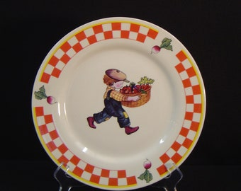 PWG Red Checkered Dinner Plate with Kid