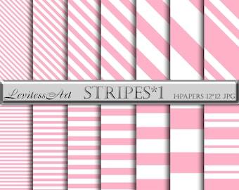 Wedding digital paper Pink white digital paper Pink and white stripes digital paper  Pink stripe background Baby shower invitations patterns
