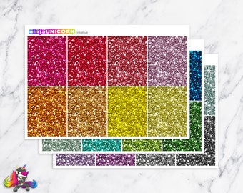 Rainbow Glitter Headers, Header Stickers,Planner Stickers, Glitter Header Stickers
