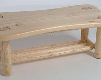Log furniture Rustic Snow Creek Contour Coffee Table