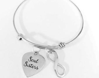 Best Friend Gift, Soul Sisters Adjustable Bangle Bracelet, Infinity Bracelet, Bff Gift Bangle Charm Bangle Bracelet