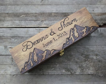 Custom Personalized Wedding Wine Box, First Fight Box, Memory Box, Time Capsule, Engraved wine box, Mountain wine box, wine gift box,