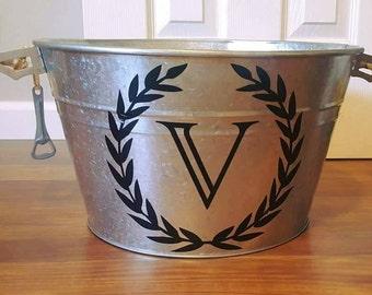 Personalized Customized Galvanized bucket - drink cooler - Entertaining bucket ice bucket Monogrammed Wedding Gift Personalized Ice Bucket