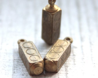 Vintage 1950's Antiqued Brass Traffic Light Charms // 3 pieces