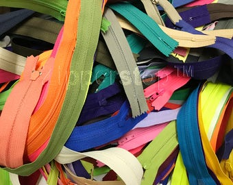 100 Zippers Bulk 3 Inch to 24 Inch mostly of YKK Nylon Coil mixed Talon Zippers Tailor Sewer Craft - Made in USA (Colors - Sizes will vary)