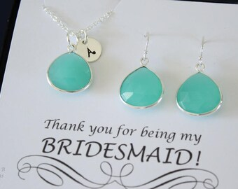 6 Monogram Bridesmaid Necklace and Earring set Green, Bridesmaid Gift, SeaFoam Gemstone, Sterling Silver, Initial Jewelry, Personalized