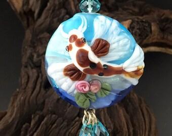 Koi Pond  original custom handmade lampwork koi fish pendant SRA
