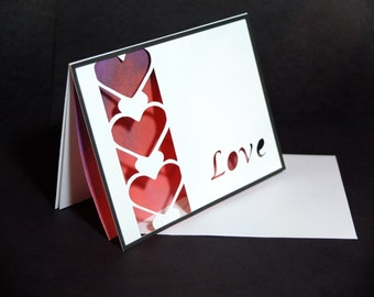 Cut-out Romantic Love Card, Stack of Hearts. Personal text for Valentine's Day, Weddings, Anniversaries, and more!