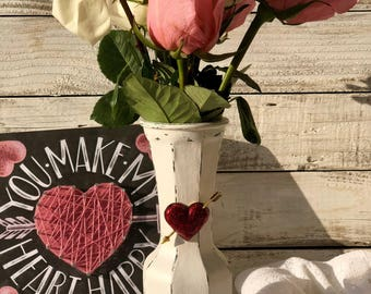 Valentines Day Distressed Vase with Vintage Heart Brooch