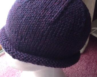 Women's Hat, Teen's Hat, Purple Hat, Handknit Roll Brim in Plum Heather