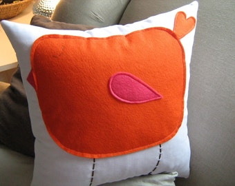 Cute Chubby Orange Bird with Pink Wing on White Twill Pillow