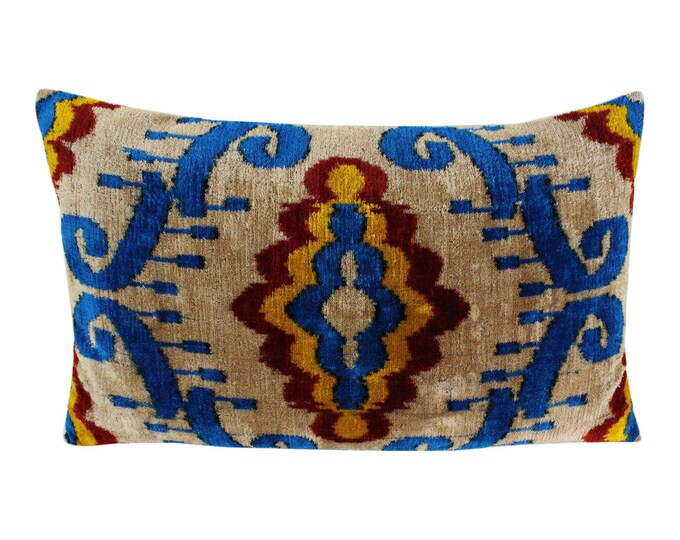 Silk Velvet Ikat Pillow Cover Lp502, Bohemian pillow, Velvet Ikat Pillow, Velvet Pillow, Velvet Pillow Cover, Ikat Pillows, Throw Pillows