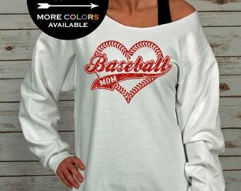Baseball Mom Off Shoulder Raw Edge Sweatshirt for Women GLITTER, Mom Sweatshirt, Baseball Shirt, Plus Sizes (Red Glitter)