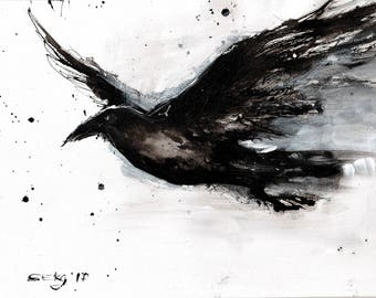 Crow painting - Ink on 8x12in canvas, A4, 21x30cm - abstract bird