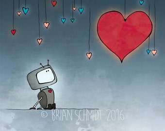 Robot Illustration - Hearts and Robot Art Print, Kids Room Decor, Nursery Print, Love Robot Art Gift