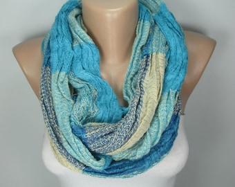 Blue Infinity Scarf Oversize Loop Scarf Women Circle Scarf Fall Winter Scarf Women Fashion Accessories Christmas Gift Ideas For Her