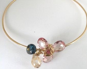 London Blue topaz, Champagne Quartz, Pink Topaz, Spring Colors, 14Gold Bracelet,