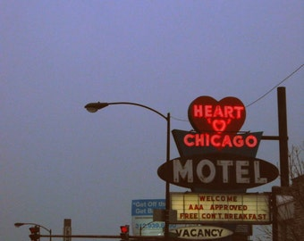 "Chicago Photography, ""Heart 'O' Chicago Motel"", mid-century vintage neon sign photo, lavender, red, americana, kitsch, 6x6"